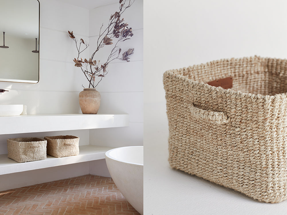 Small jute baskets used on bathroom shelves to hold toilettries or toilet rolls.