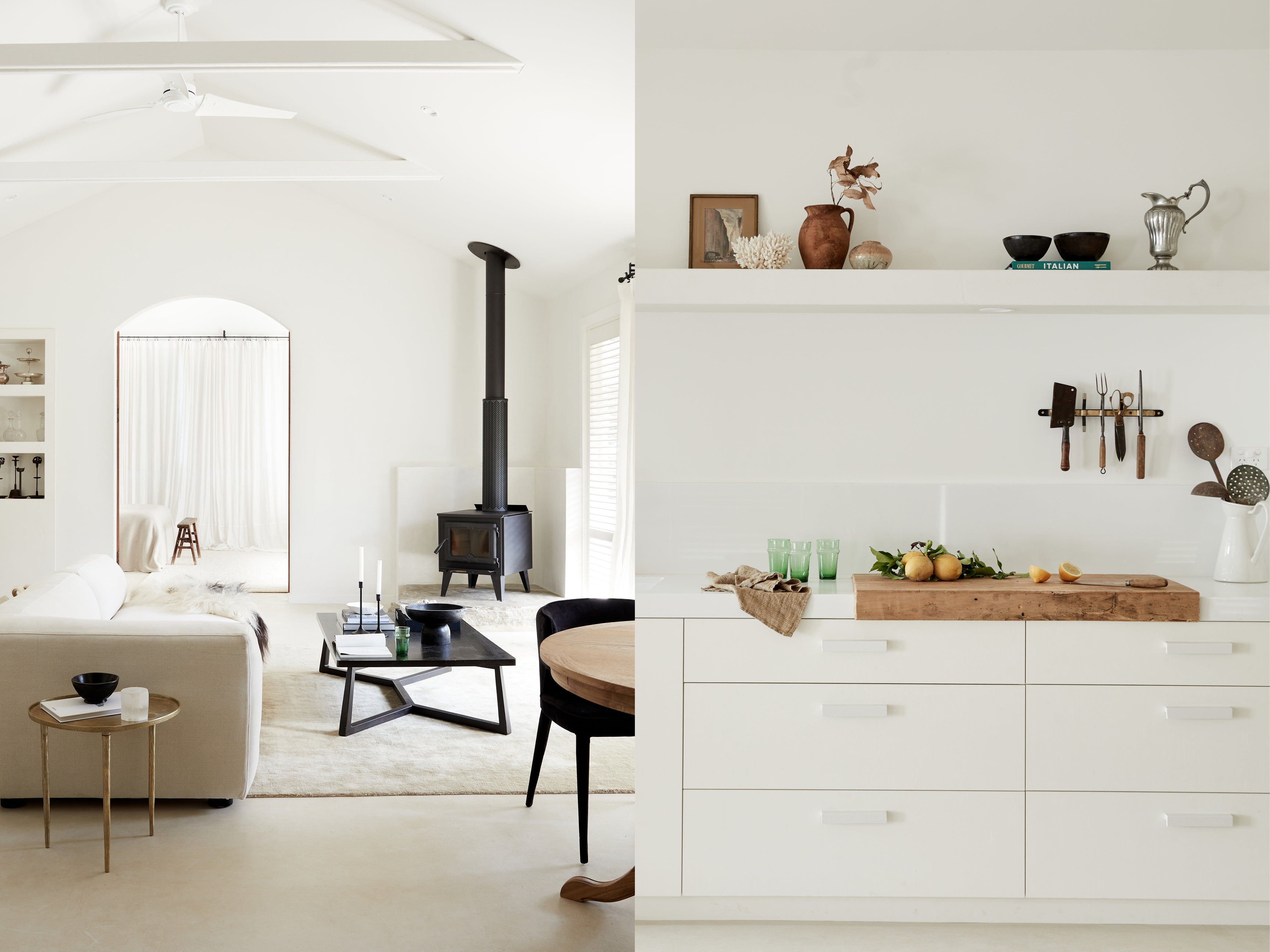 Design work done by Mel Gibbons of Avenue Twenty Two - living room in neutral tones and white kitchen