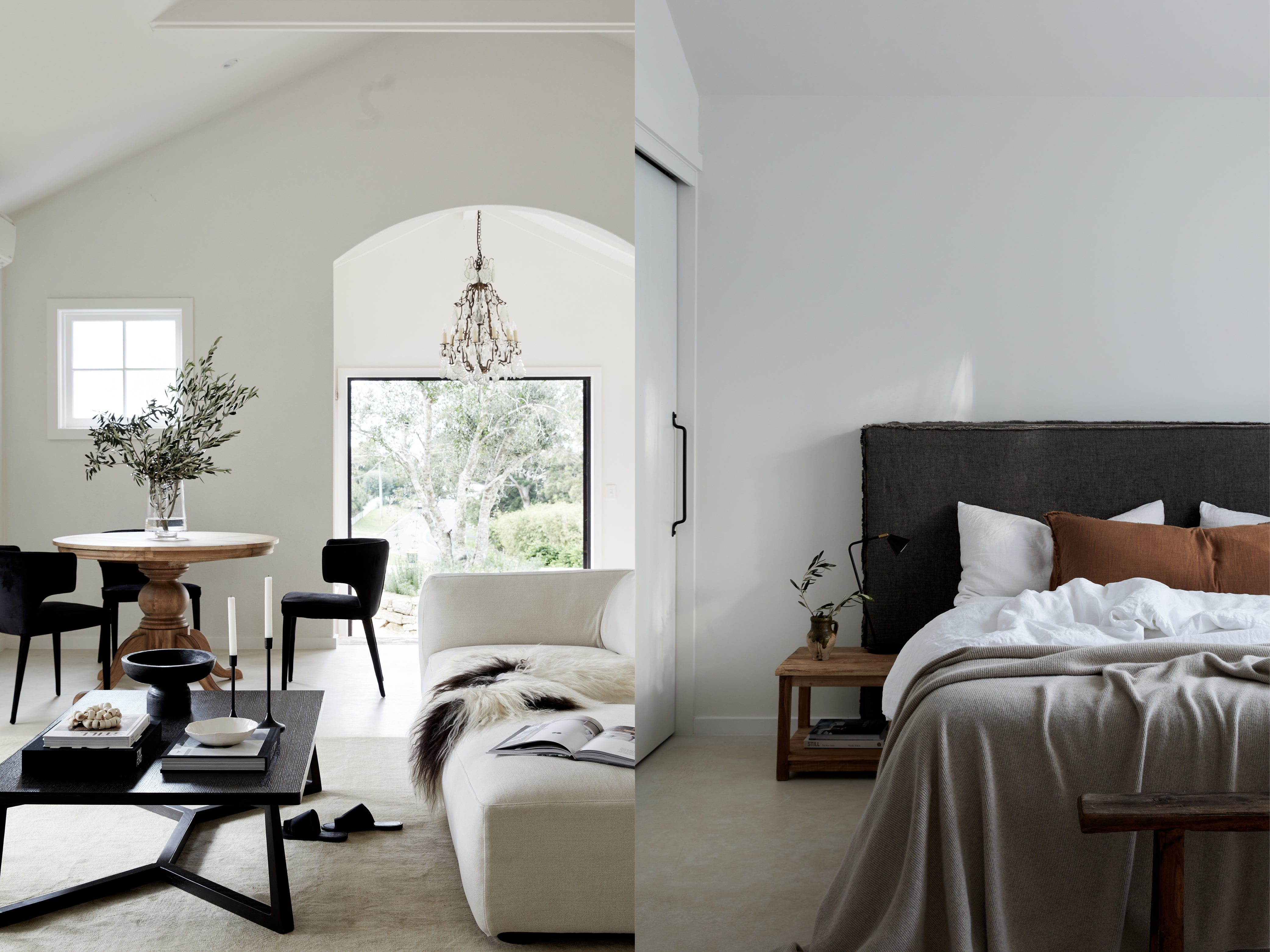 Design work done by Mel Gibbons of Avenue Twenty Two - living and dining space in neutral tones and soothing bedroom
