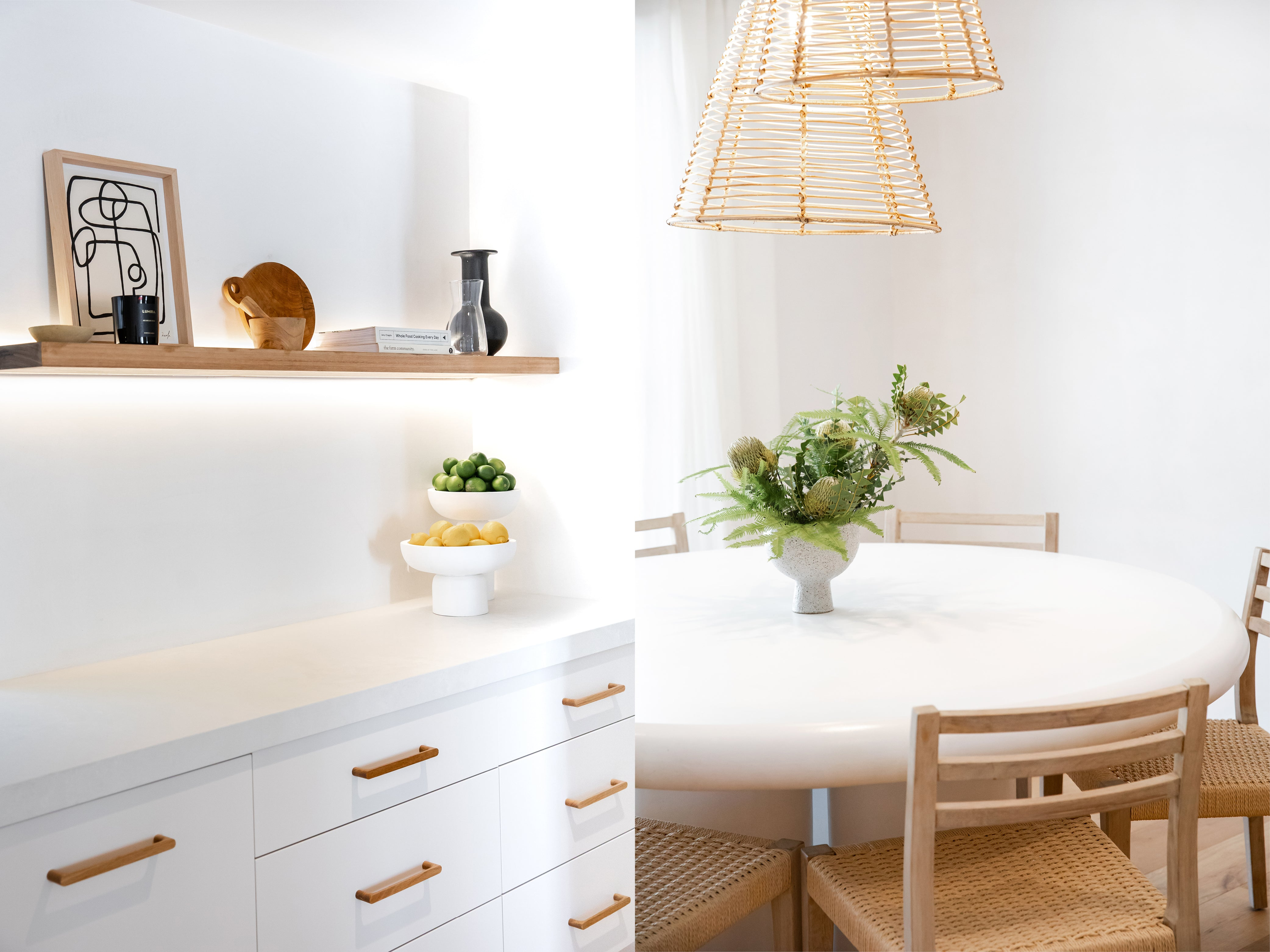 Design work done by Mel Gibbons of Avenue Twenty Two - kitchen and dining space in neutral tones