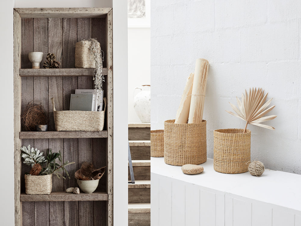 Small woven storage baskets