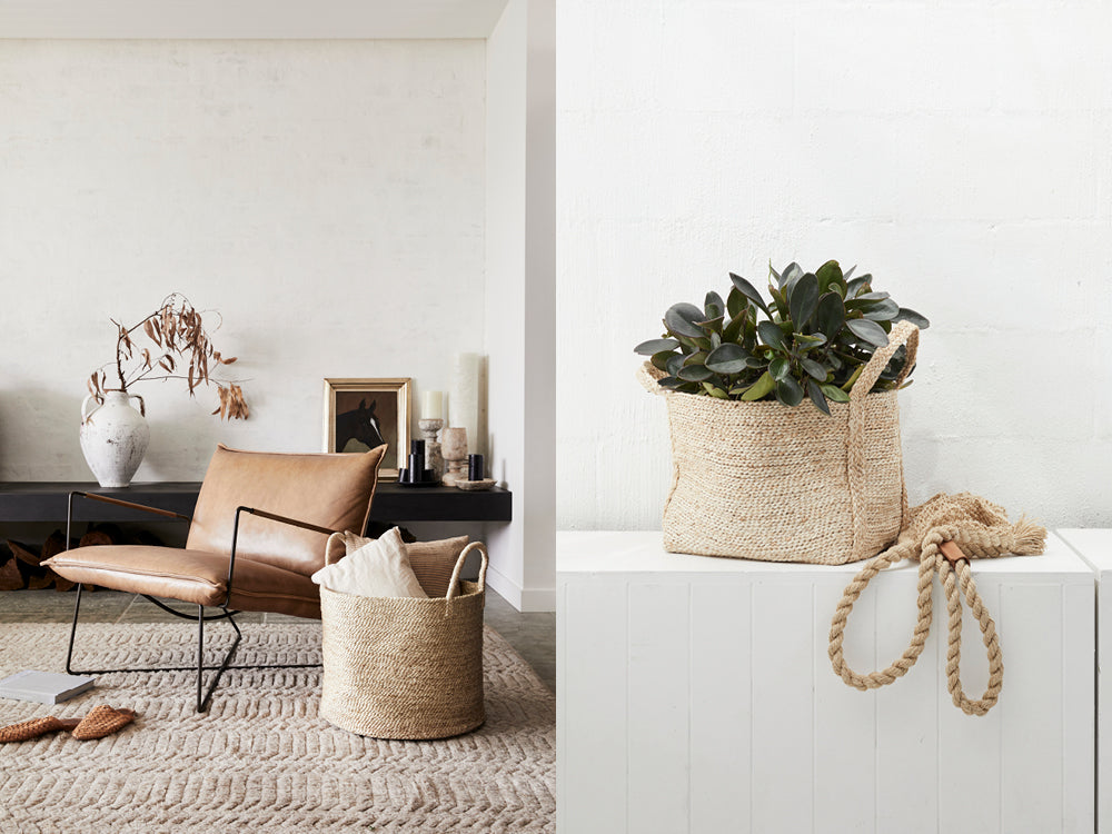 Natural woven storage baskets