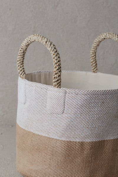 Pacific Basket -Two Tone Natural and White - De...
