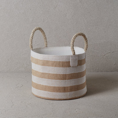 Pacific Basket - Wide Stripes Natural and White