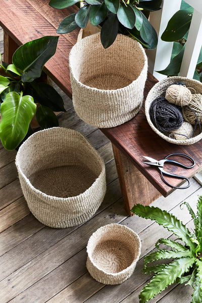 Trio of Woven Pots - Natural