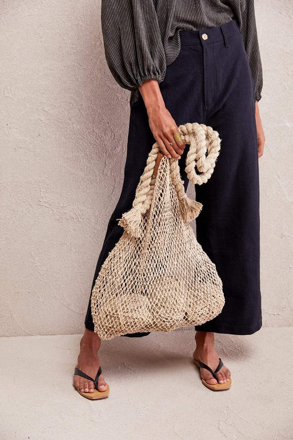 The Dharma Door Bags and Totes Jumbo Hemp String Bag - Natural