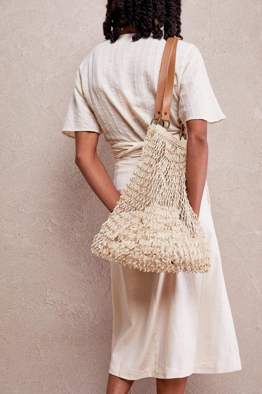 The Dharma Door Bags and Totes String Bag with Leather Handles Jute String Bag - Natural with Tan Handles