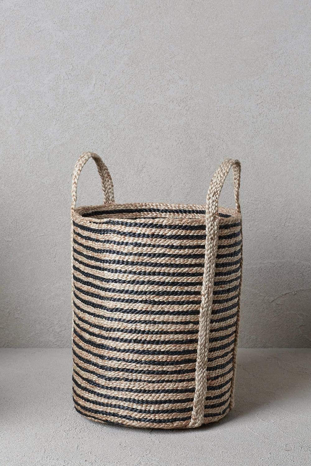 The Dharma Door Baskets and Storage Jute Laundry Basket - Striped
