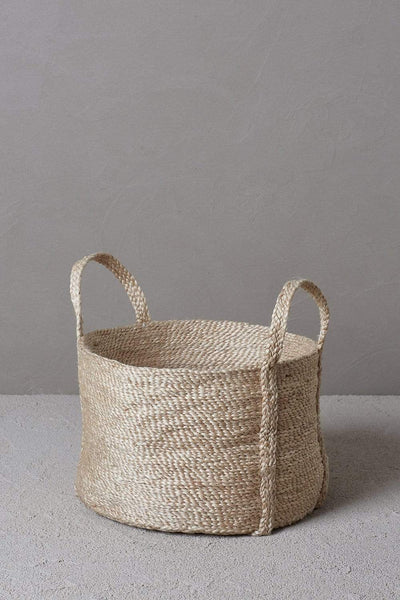 The Dharma Door Baskets and Storage Round Jute Basket - Natural Short Round Jute Basket - Natural