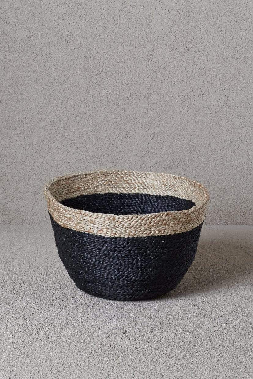 The Dharma Door Bowl Jute Bowl - Charcoal & Natural Jute Bowl - Charcoal & Natural