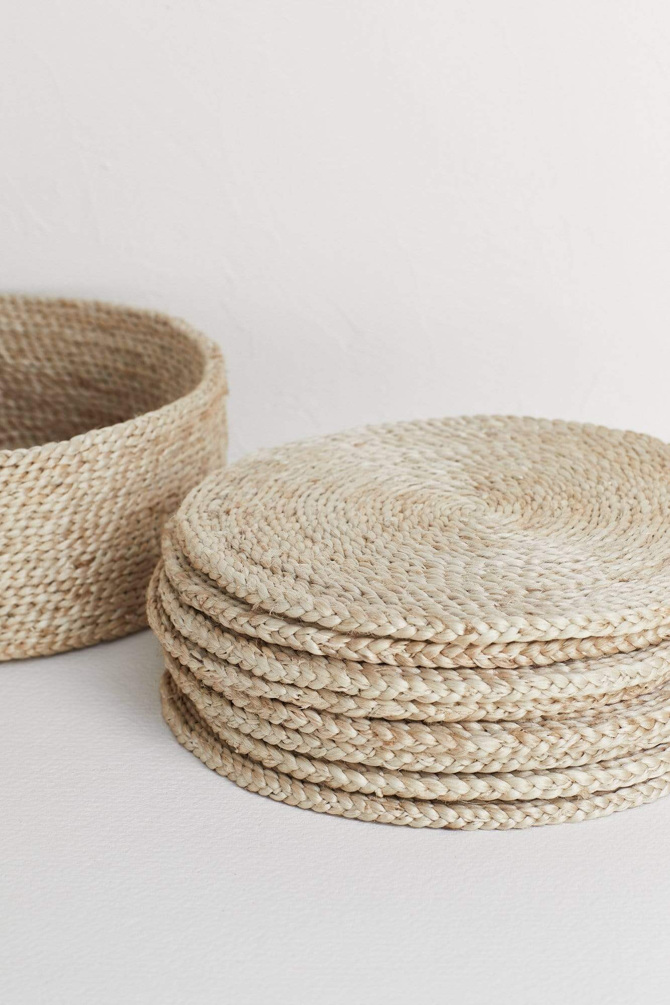 The Dharma Door Home, Table and Gifts Round Jute Placemat Set x 8 in basket Round Natural Jute Placemats x 8 in basket