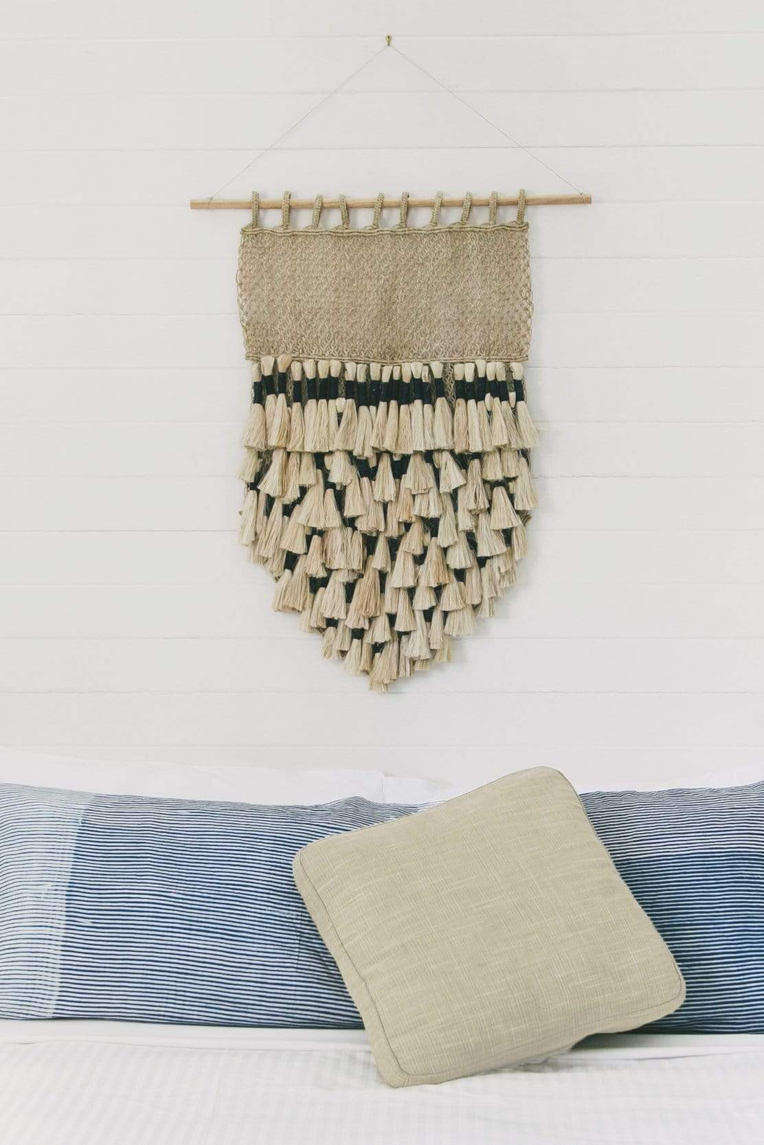 The Dharma Door Wall Hangings Wall Hanging - Natural Jute Tassels with Indigo Tassel Wall Hanging - Natural & Indigo