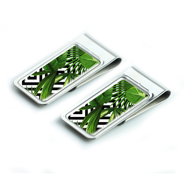 LIZI MANDU Silver Stainless Steel Slim Money Clip, Cash Money Clip Credit Card Holder(Leaves)