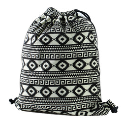 LIZI MANDU Print Drawstring Backpack Rucksack Shoulder Bags Gym Bag(Black White Nation)