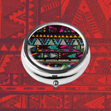 Pill Box - LIZI MANDU Compact 3 Compartment Medicine Case, Pill Box for Pocket or Purse(Africa Style)