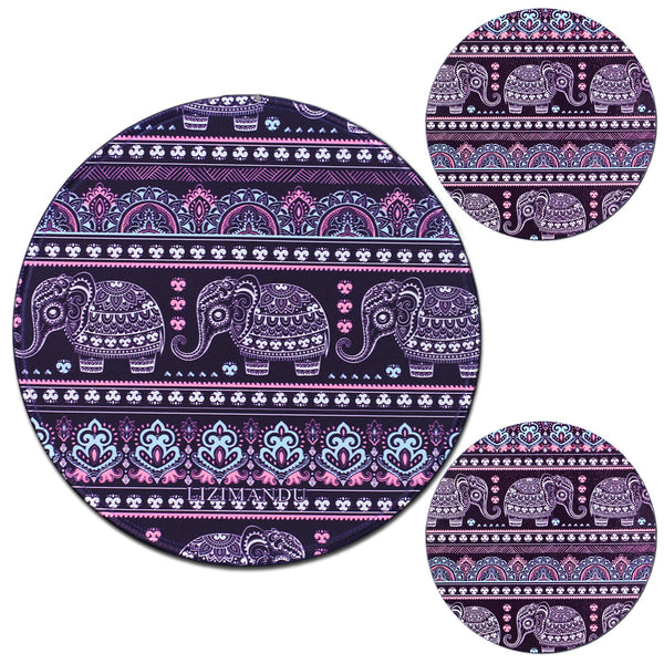 LIZI MANDU Anti Slip Soft Comfort Round Mouse Pad, Reward Rubber Coasters 2 Pack(Elephant Purple)
