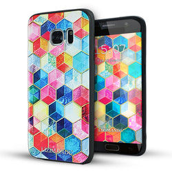 Samsung Galaxy S7 Case,LIZI MANDU Soft TPU textured pattern Case for Samsung Galaxy S7(Hexagon Mirror)