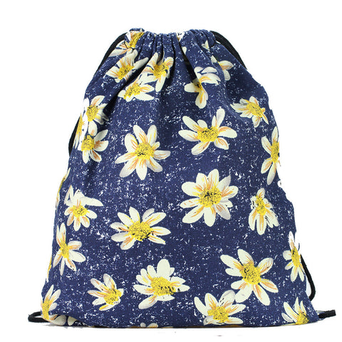 LIZI MANDU Print Drawstring Backpack Rucksack Shoulder Bags Gym Bag(Daisy)