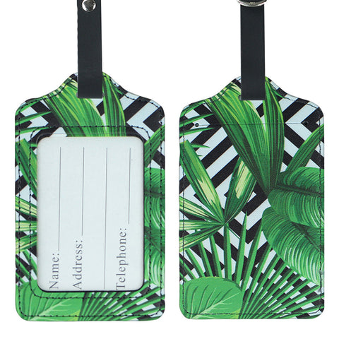 LIZI MANDU PU Leather Luggage Tags Suitcase Labels Bag Travel Accessories - Set of 2(Black Leaves)