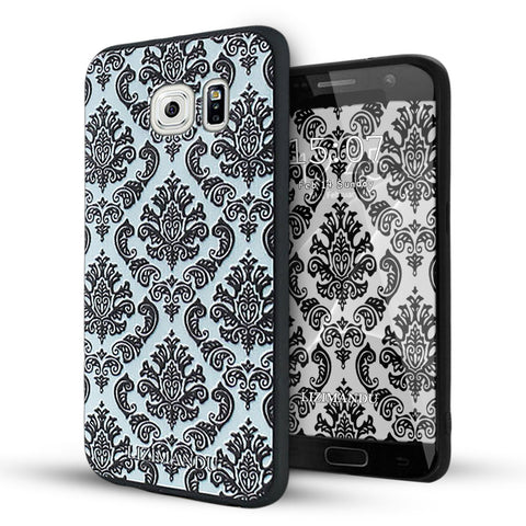 Samsung Galaxy S6 Case,LIZI MANDU Soft TPU textured pattern Case for Samsung Galaxy S6(Lace Flower Black)