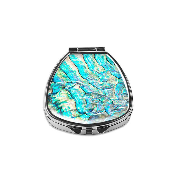 Pill Box - LIZI MANDU Compact 2 Compartment Medicine Case, Pill Box for Pocket or Purse-Shell(Abalone Shell)