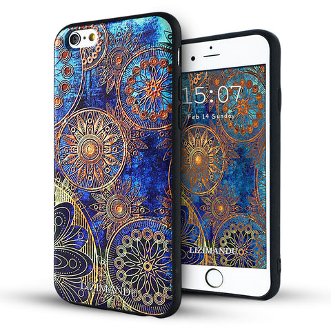 iphone 6s plus case,iphone 6 plus case,LIZI MANDU soft TPU textured pattern Case for iphone 6 plus/6s plus(Blue Flower)