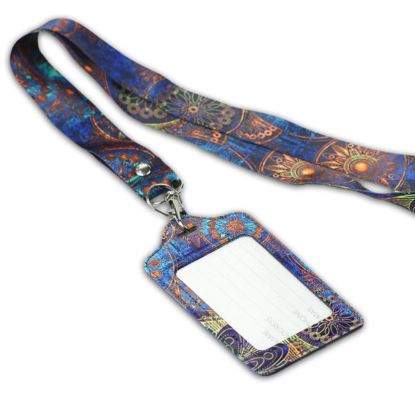 LIZI MANDU PU Leather Slim Credit Card Holder ID Card Badge Case Holder Useful Purse with Neck Strap(Blue Flower)