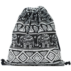 LIZI MANDU Print Drawstring Backpack Rucksack Shoulder Bags Gym Bag(Elephant Black)