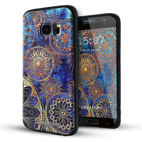 Samsung Galaxy S7 Textured Soft Case (Blue Flower)