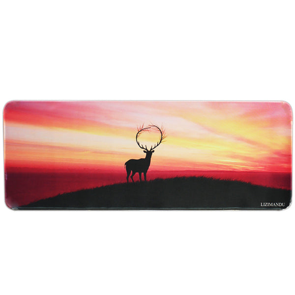 Large Gaming Mouse Pad(78 cm x 30 cm x 0.2cm) ,LIZI MANDU Premium Quality Pattern Anti Slip Stitched Edges Computer PC Keyboard Mouse Mat Soft Comfort Feel Finish(Deer Yellow)