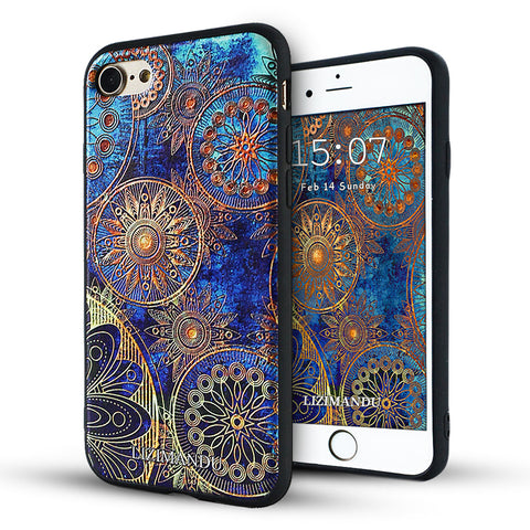 iPhone 8 Case, iPhone 7 Case, Lizimandu TPU Texture Pattern Case for iPhone 7 8(Blue Flower)