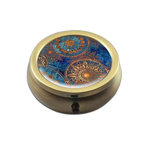 Pill Box - LIZI MANDU Compact 3 Compartment Medicine Case, Pill Box for Pocket or Purse(Coppery-Blue Flower)