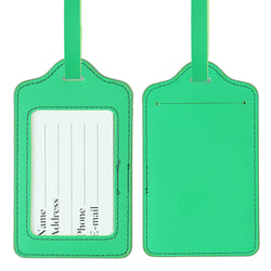 LIZI MANDU PU Leather Luggage Tags Suitcase Labels Bag Travel Accessories - Set of 2(Green)