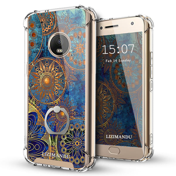 Moto G5 Plus Case,LIZI MANDU Ring Holder Kickstand Flexible TPU Soft Textured Pattern Case For Moto G5 Plus(Blue Flower)