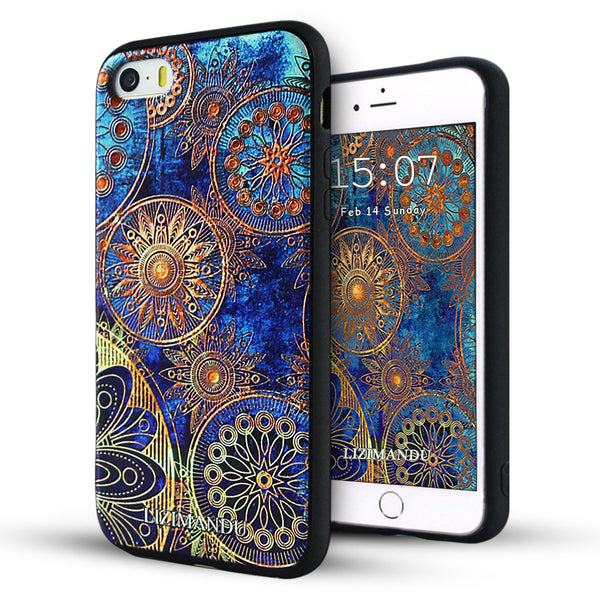 iPhone 5s Case,LIZI MANDU Soft TPU textured pattern Case for iPhone 5s/5/se(Blue Flower)