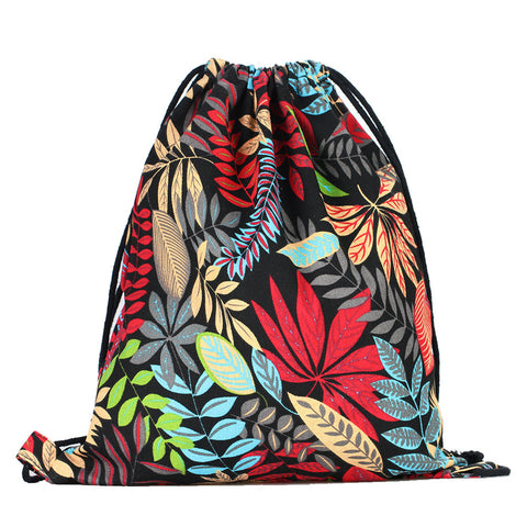 LIZI MANDU Print Drawstring Backpack Rucksack Shoulder Bags Gym Bag(Maple Red)