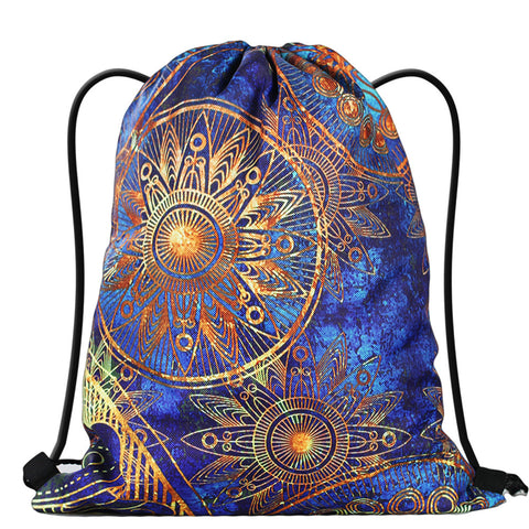 LIZI MANDU Print Drawstring Backpack Rucksack Shoulder Bags Gym Bag(Blue Flower)