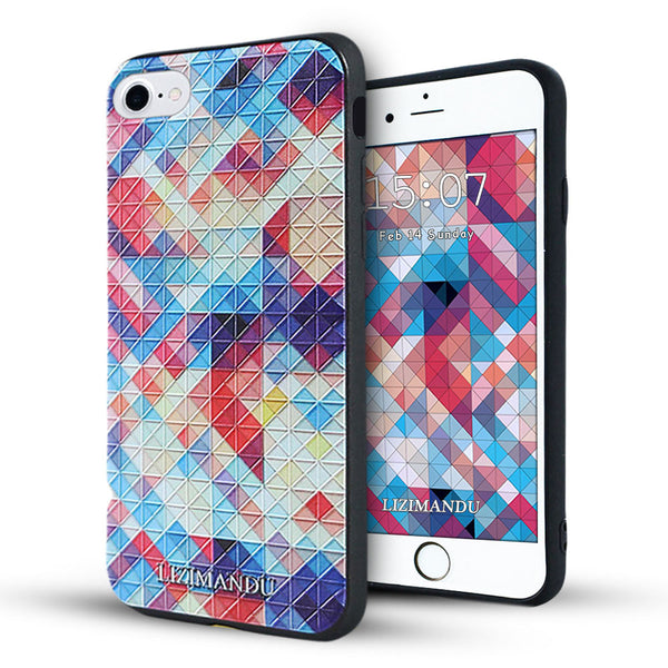 iPhone 8 Case, iPhone 7 Case, LIZI MANDU TPU Texture Pattern Case for iPhone 7 8(Colorful Pizzle)