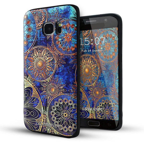 Samsung Galaxy S7 Edge case,LIZI MANDU TPU 3d pattern Case for Samsung Galaxy S7 Edge(Blue Flower)
