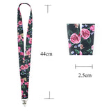 Lanyard, LIZI MANDU Keychain Holder Flat Lanyards with Swivel Hook Attachment(Black Rose)