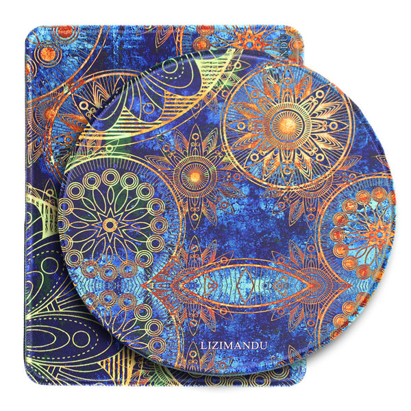 Mouse Pad Set of 2, LIZI MANDU Premium Quality Pattern Anti Slip Computer PC Mouse Mat Soft Comfort Feel Finish(Blue Flower)