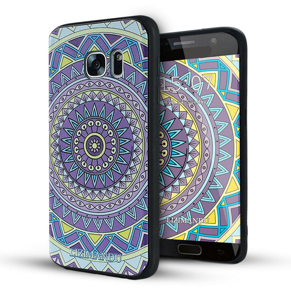 Samsung Galaxy S7 Case,LIZI MANDU Soft TPU textured pattern Case for Samsung Galaxy S7(Yellow Purple Compass)