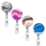 Badge Reel,LIZI MANDU Retractable Badge Holder Carabiner Reel Clip On ID Card Holders Pack of 4(Stone)