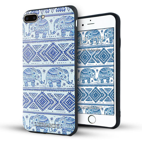 iPhone 8 Plus Case, iPhone 7 Plus Case, LIZI MANDU TPU Texture Pattern Case for iPhone 7 8 Plus(Elephant)