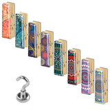 LIZI MANDU 9-PACK Fridge Magnets, Refrigerator Magnets, Office Magnet, Kitchen Magnets (8 Colorful Artistic Clothespin Magnetic Clips + 1 Strong Neodymium Magnetic Hook) - (Blue Flower Series)