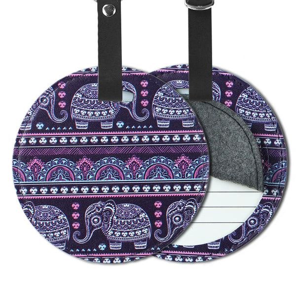 LIZI MANDU PU Leather Round Luggage Tags Suitcase Labels Bag - Set of 2(Elephant Purple)
