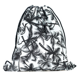 LIZI MANDU Print Drawstring Backpack Rucksack Shoulder Bags Gym Bag(Leaf Black)
