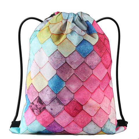 LIZI MANDU Print Drawstring Backpack Rucksack Shoulder Bags Gym Bag(Mermaid)