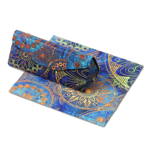 Foldable Glasses Case, Glasses Case, Hard Shell Protects & Stores Reading Eyeglasses and Medium Eyewear, Bonus Cleaning Cloth, By LIZI MANDU(Blue Flower)