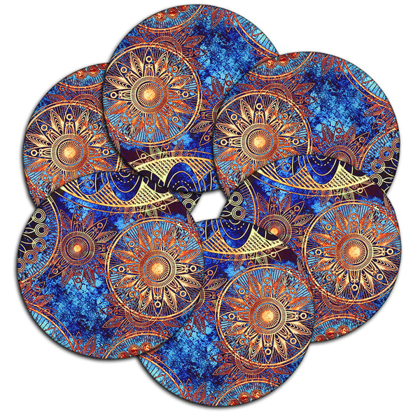 LIZI MANDU Coasters Set of 6 - Rubber Coasters Protect Furniture From Water Marks & Damage - 3.7 inch Perfect Soft Coaster Fits Any Size of Drinking Glasses(Blue Flower)